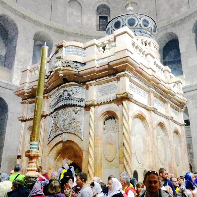Pilgrims visiting the renovated tomb in Holy Sepulcher